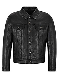cheap -new trucker 1280 men's black classic western real napa soft genuine leather jacket shirt (s)