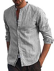 cheap -Men's Shirt Solid Color Long Sleeve Street Tops Casual Fashion Comfortable Henley Light Blue Gray White / Beach / Cotton