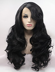cheap -Wavy Body Wave Asymmetrical Lace Front Wig Very Long Natural Black #1B Synthetic Hair 24 inch Women's Party Synthetic Sexy Lady Black