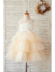 cheap -Ball Gown Knee Length Wedding / Birthday Flower Girl Dresses - Tulle Sleeveless Jewel Neck with Feathers / Fur / Lace / Beading