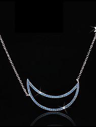 voordelige -Dames Helder Blauw Zirkonia Hangertjes ketting plaveien MOON Artistiek Eenvoudig Koreaans Messinki Zilver 50 cm Kettingen Sieraden 1pc Voor Feest / Avond Lahja Festival