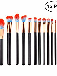 cheap -12 pcs makeup brush set premium nylon fiber wood handle cosmetics brushes for women (t-12-052)