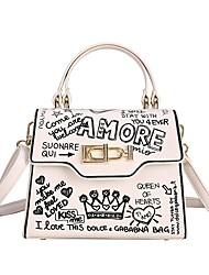 cheap -Women's Bags PU Leather Top Handle Bag Event / Party Date Handbags White Black Blushing Pink Khaki
