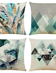 cheap -Set of 4 Mosaic Geometry Linen Square Decorative Throw Pillow Cases Sofa Cushion Covers 18x18