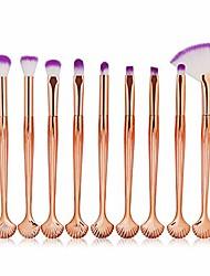 cheap -10pcs mermaid makeup brushes set foundation blending powder eyeshadow blush cosmetics fish make up woman white purple1