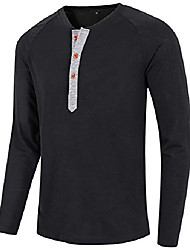 cheap -mens casual loose fit long sleeve henley t-shirts cotton shirts brown l