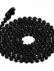 cheap -titanium stainless steel small beads ball chain necklace for men women dog tag link chain black 2.4mm 18 inches