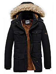 cheap -men's winter quilted puffer jacket with removeable hood black