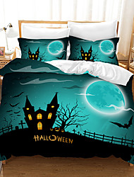 cheap -Halloween Duvet Cover Set, Happy Halloween Greetings Pumpkins Skull Bones Bats Pennant Image, Decorative 2/3 Piece Bedding Set with 1 or 2 Pillow Shams, Queen King Size