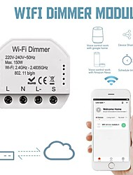 cheap -Wifi Dimmer Switch Module Controller 1 Way Dual Control Switch Panel Switch Independent Control On-off 86 Box