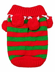cheap -christmas pet sweater knitwear costume with collar and balls for winter for cat small dog puppy, red & green