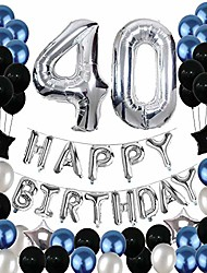 cheap -40th birthday decorations,40 birthday balloons party supplies happy birthday banner latex balloons foil star balloons blue black (81pcs)