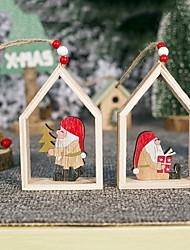 cheap -Wooden Three-dimensional Painted Santa Claus Ornaments Creative Christmas Tree Decoration Pendant
