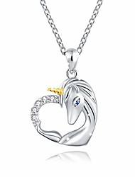 cheap -925 sterling silver unicorn pendant necklace jewelry for girl women (unicorn in heart)