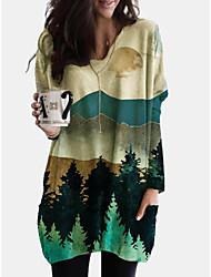 cheap -Women's Shift Dress Short Mini Dress - Long Sleeve Print Print Fall Winter Casual Loose 2020 Green S M L XL XXL 3XL