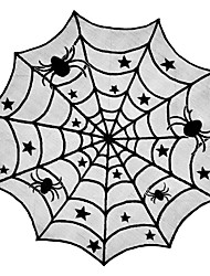cheap -Round Halloween Decoration Tablecloth Black Lace Spider Web Table Topper Halloween Decoration Tablecover Overlay for Holiday Dinner Party and Scary Movie Nights 100cm(40 Inch) 2 Pcs