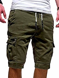 cheap -Men's cargo shorts elastic waist casual shorts for men  half trousers  Drawstring Waist Knee-Length Pants With Pockets big tall-green-m