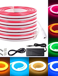cheap -3M 4M 5M Multicolor Neon LED Strip Lights 120 LEDs Per Meter 2835 SMD LED IP65 Waterproof Flexible Silicone Rope Light with DC12V Power adapter for Indoor Outdoor Home Decoration
