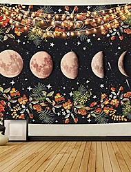 cheap -moon phase tapestry moonlit garden tapestry, flowers floral tapestry, black wall tapestry for room & #40;59.1 × 59.1 inches& #41;
