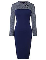 cheap -women's retro chic colorblock lapel career tunic dress b238(x-large,dark blue pattern + dark blue)