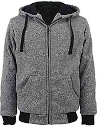 cheap -heavyweight sherpa lined plus sizes warm fleece full zip mens hoodie with padded sleeve & rib cuffs
