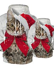 cheap -Daddy and Me Active Cat Santa Claus Graphic 3D Print Animal Print Long Sleeve Regular Hoodie & Sweatshirt White
