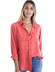 cheap -womens 100% silk shirt blouses long sleeve button up elegant work top xs coral