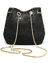 cheap -women evening bag rhinestone bucket bag bling bride wedding shoulder clutch handbag (black)
