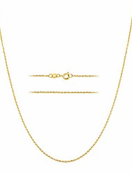 cheap -24k gold over stainless steel 1.5mm thin cable link chain necklace, 14 inch