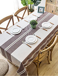 cheap -Nordic Waterproof Jacquard Imitated Cotton Linen Embroidered Tassel Lace Rectangular Dining Table Coffee Table Tablecloth
