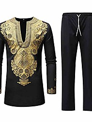 cheap -but& #39;s dashiki shirt suit autumn winter luxury long sleeve pants sets casual african print ethnic arab style suits black