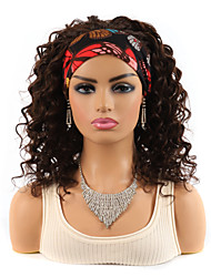 cheap -14 inch 4# Natural Black Bob Deep Volume Wig Head With Headgear Medium and long Curly Hair African Wig With Colorful Headscarf Wig Headgear