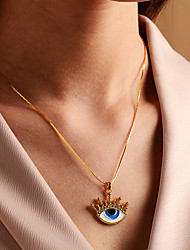 cheap -Pendant Necklace Women's Geometrical Floral / Botanicals Evil Eye European Colorful Cute Gold Light Blue 45 cm Necklace Jewelry 1pc for Daily irregular