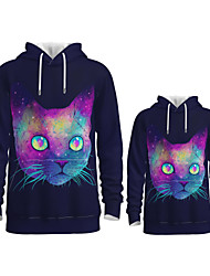 cheap -Daddy and Me Active Cat Graphic 3D Print Animal Print Long Sleeve Regular Hoodie & Sweatshirt Purple