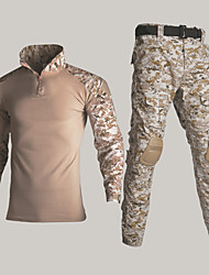 cheap -Men's Combat Shirt Hunting Shirt with Pants with Knee Pads Outdoor Windproof Quick Dry Breathable Sweat-Wicking Fall Winter Spring Camo / Camouflage Clothing Suit Polyester Camping / Hiking Hunting