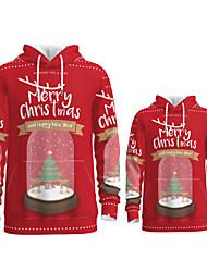 cheap -Daddy and Me Active Santa Claus Graphic 3D Print Animal Print Long Sleeve Regular Hoodie & Sweatshirt Red