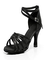 cheap -ballroom dance shoes women latin salsa bachata shoes suede sole wedding performance dance shoes 2.76'' heel, black, 8.5