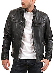 cheap -men's enzo black genuine lambskin vintage leather jacket l black