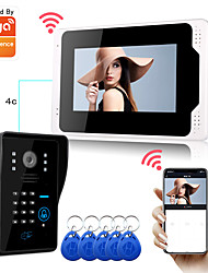 cheap -Tuya APP WIFI / Wired Snapshot Recording 7 inch Monitor Hands-free Intercom One to One Video Doorphone with 1080P HD Camera Motion Detect RFID Password Unlock
