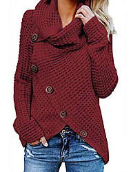 cheap -women's chunky turtle cowl neck knit wrap asymmetric hem sweater coat with button details xx-large red