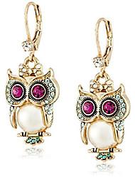 """cheap -""""pearl critters"""" owl drop earrings"""