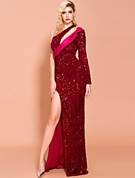 cheap -Sheath / Column Sexy Sparkle Wedding Guest Prom Dress One Shoulder Long Sleeve Floor Length Sequined with Sequin Split 2020