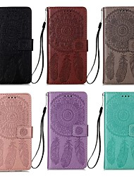 cheap -Case For Xiaomi Mi 10 Lite 5G / Redmi Note 9 / Redmi Note 9 Pro Wallet / Card Holder / with Stand Full Body Cases Solid Colored / Feathers PU Leather