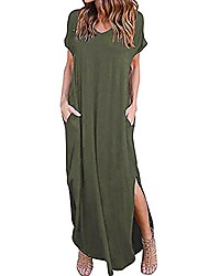 cheap -women's summer maxi dress floral print casual long dresses with pockets army green
