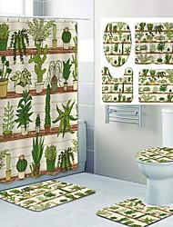 cheap -Prickly Pear Green Plant Pattern PrintingBathroom Shower Curtain Leisure Toilet Four-Piece Design