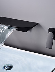 cheap -Brass Wall Mount Bathroom Faucet,Black/White Waterfall Electroplated Mount Inside Single Handle One Hole Bath Taps with Hot and Cold Switch
