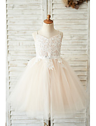 cheap -Ball Gown Knee Length Wedding / Birthday Flower Girl Dresses - Lace / Tulle Sleeveless Spaghetti Strap with Belt / Crystals