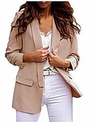 cheap -women's casual blazer jacket solid color lapel petite suit long sleeves open front cardigan coat beige