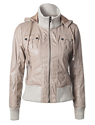 cheap -Women's Zipper Stand Collar Faux Leather Jacket Regular Solid Colored Work Basic Brown Beige M L XL XXL