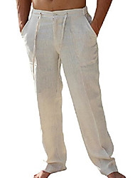 cheap -mens pants beach casual summer elastic waist drawstring loose fit trousers with pockets Solid Color